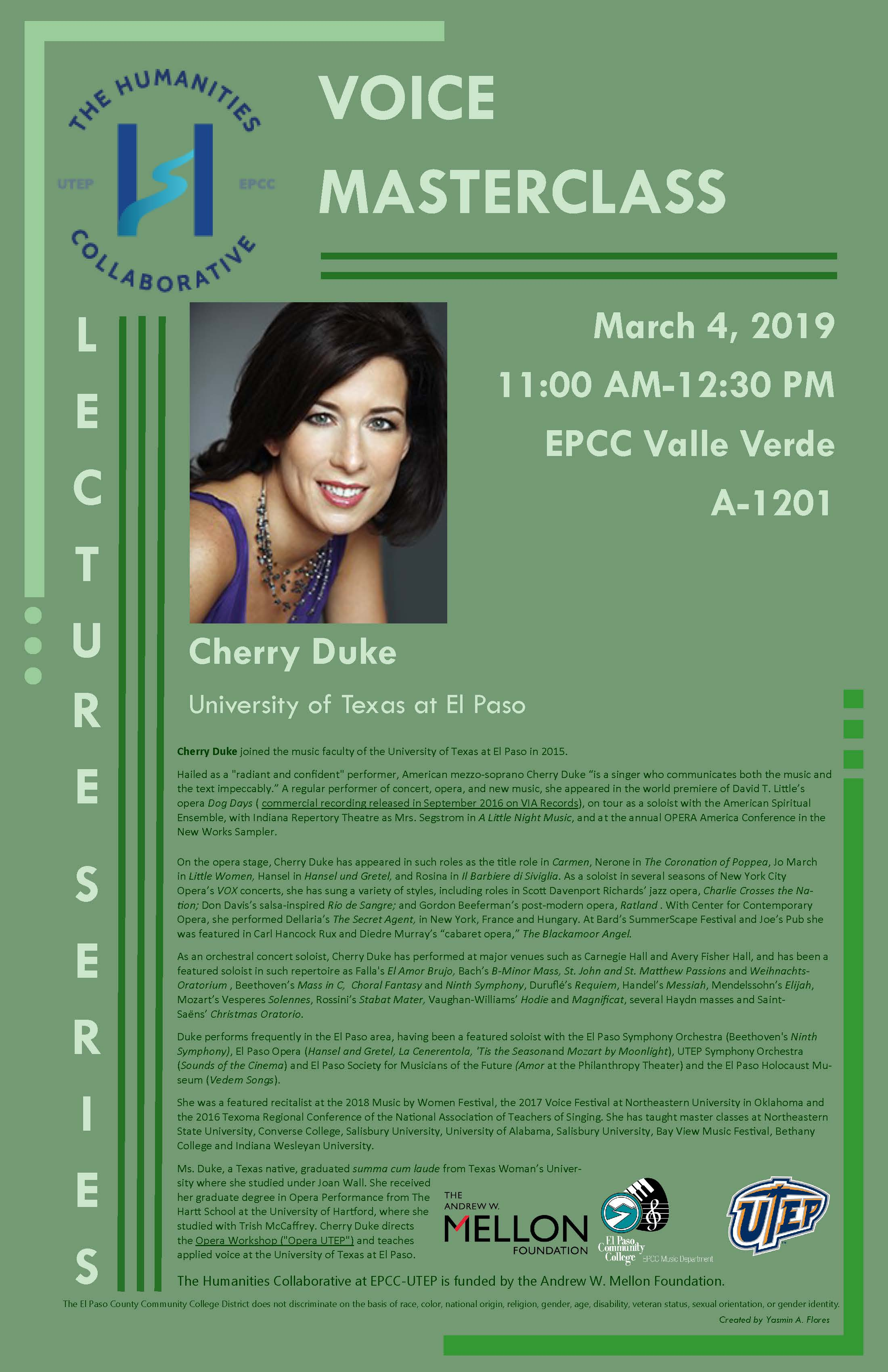 Voice Master Class at EPCC – 03/04/19